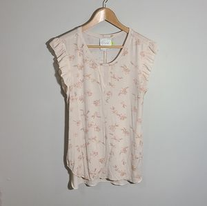 Lysse Light Pink Floral Top with Ruffle Sleeve
